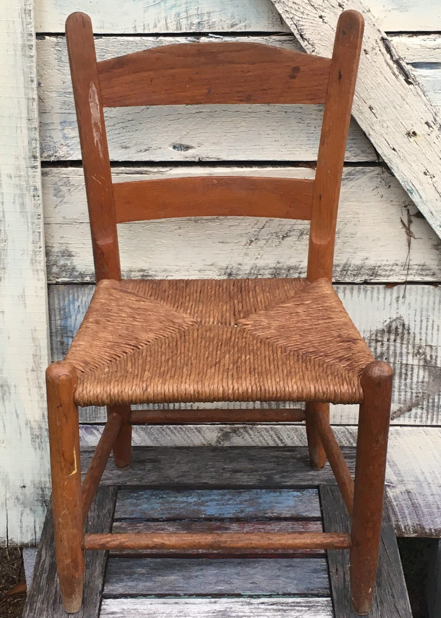 Vintage Little Child S Chair With Tightly Woven Rush Seat Kids