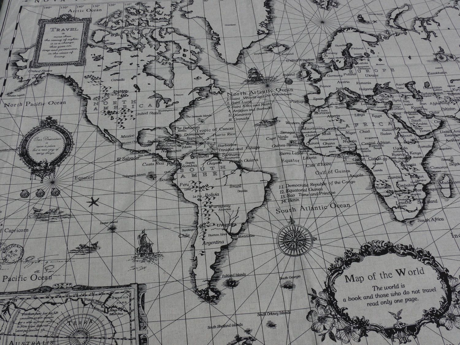 World map print linen cotton blended fabric 1 panel by cuteone world map print linen cotton blended fabric 1 panel by cuteone 800 gumiabroncs Choice Image