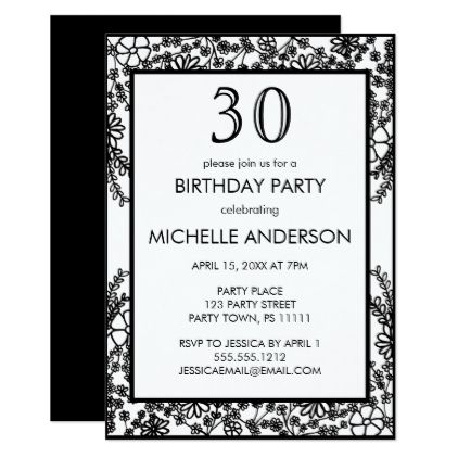 Black white floral birthday party invitation 30th birthday pinterest black white floral birthday party card giftidea gift present idea number thirty thirtieth bday birthday 30thbirthday party anniversary 30th filmwisefo