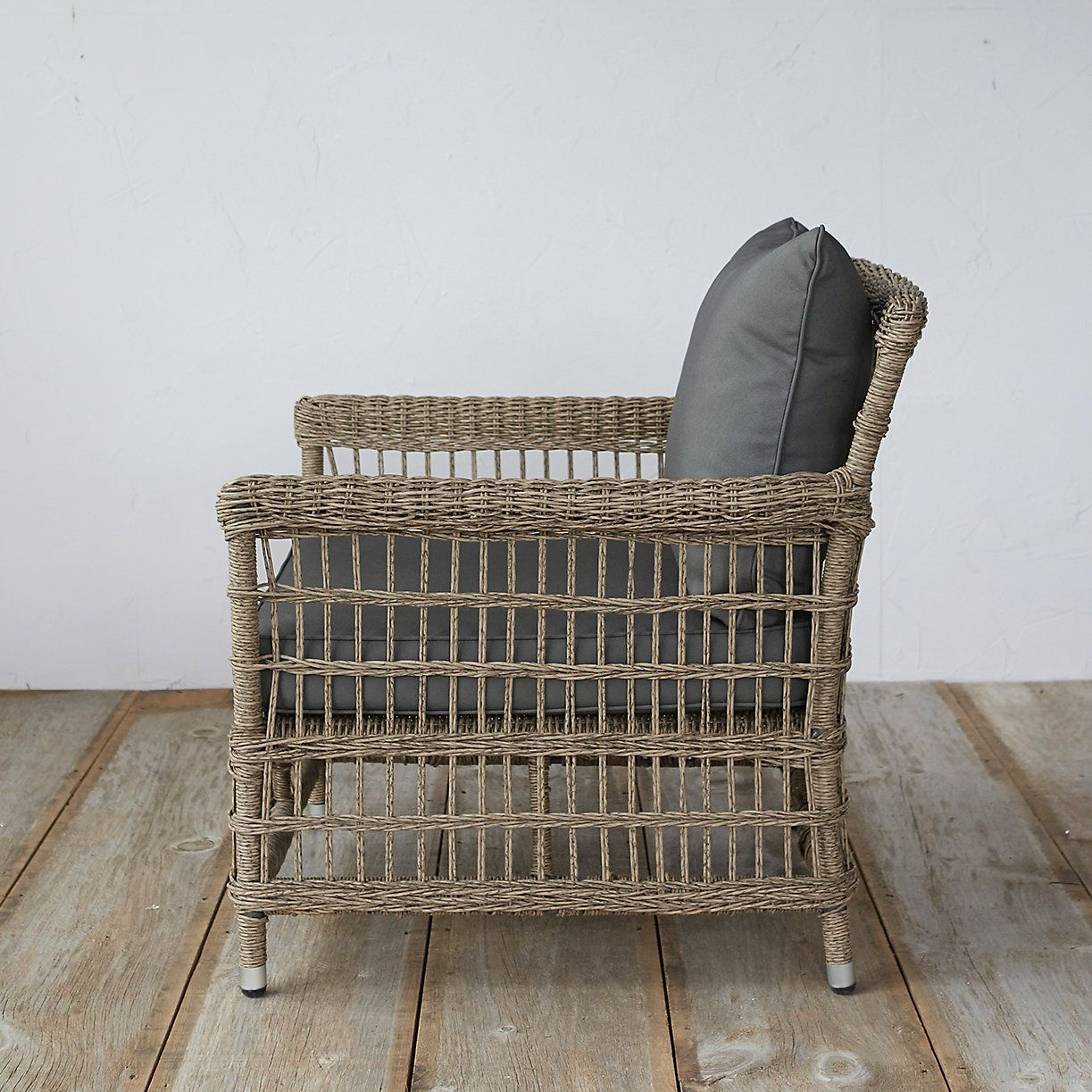 Trellis weave all weather wicker lounge chair us ranch deck