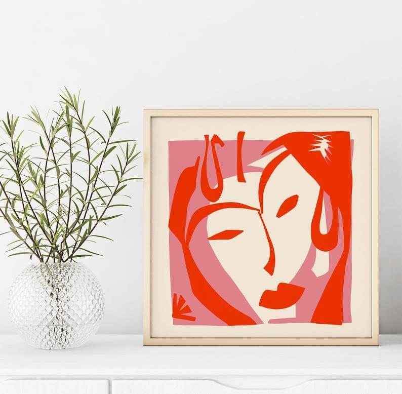 Framed matisse print minimalist woman print fine art