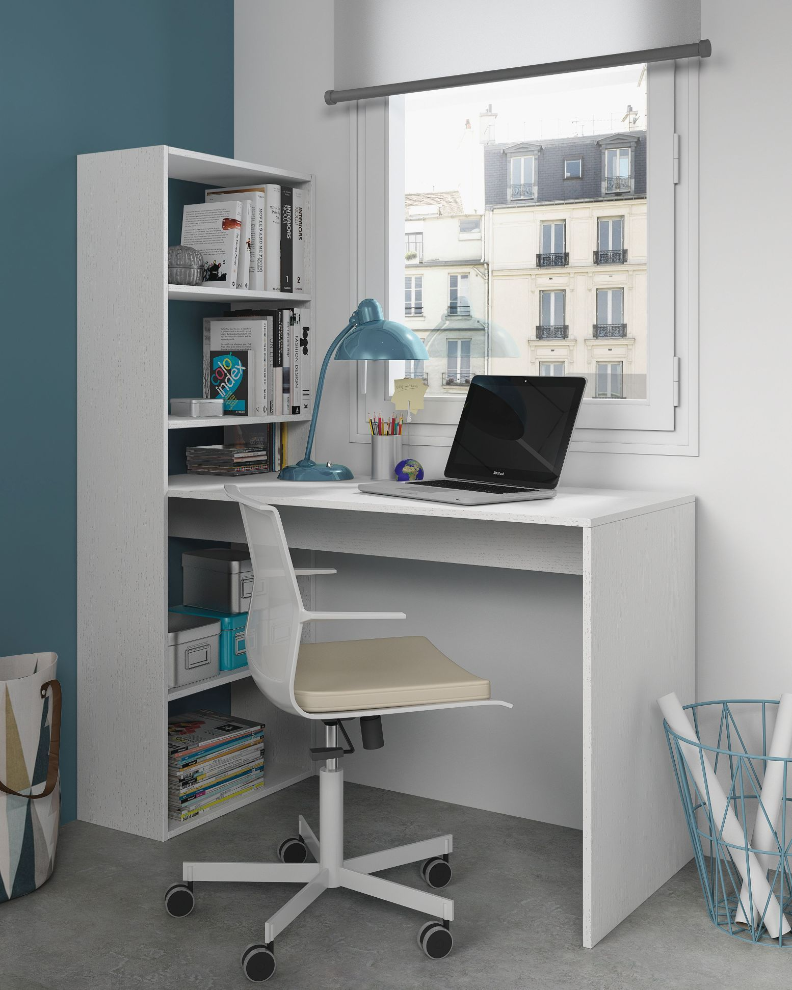 Duplex Floating Desk With Bookshelf In White By Furniturefactor Co Uk Bookshelf Desk Furniture Home Office Furniture