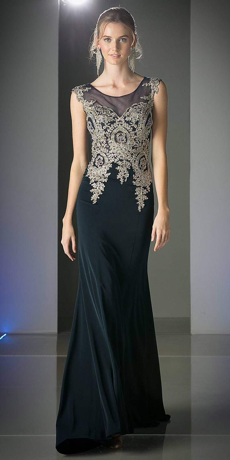 Cinderella Divine 35 Illusion Bateau Neck Embroidered Bodice Black Floor Length Prom Dress