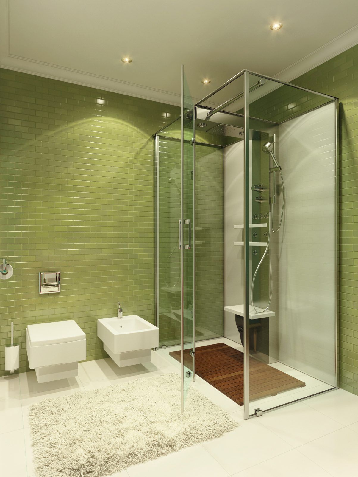 Renew Your Small Bathroom With Modern Decor In Green  Bathroom Captivating Contemporary Bathroom Tile Designs Inspiration