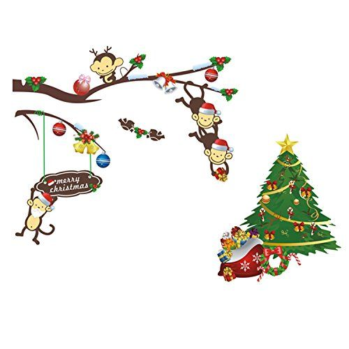 Prefer Green Home Decor Cartoon Merry Christmas Tree Lovely Monkey Wall Stickers Removable Wall Christmas Wall Decal Christmas Wall Stickers Sticker Wall Art