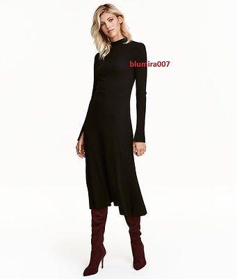 939009c6ecb H M Trend Conscious Ribbed Black Midi Turtleneck Flared Dress sz S M ...