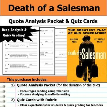 Death Of A Salesman Quotes Death Of A Salesman  Quote Analysis & Reading Quizzes  Scaffolding .