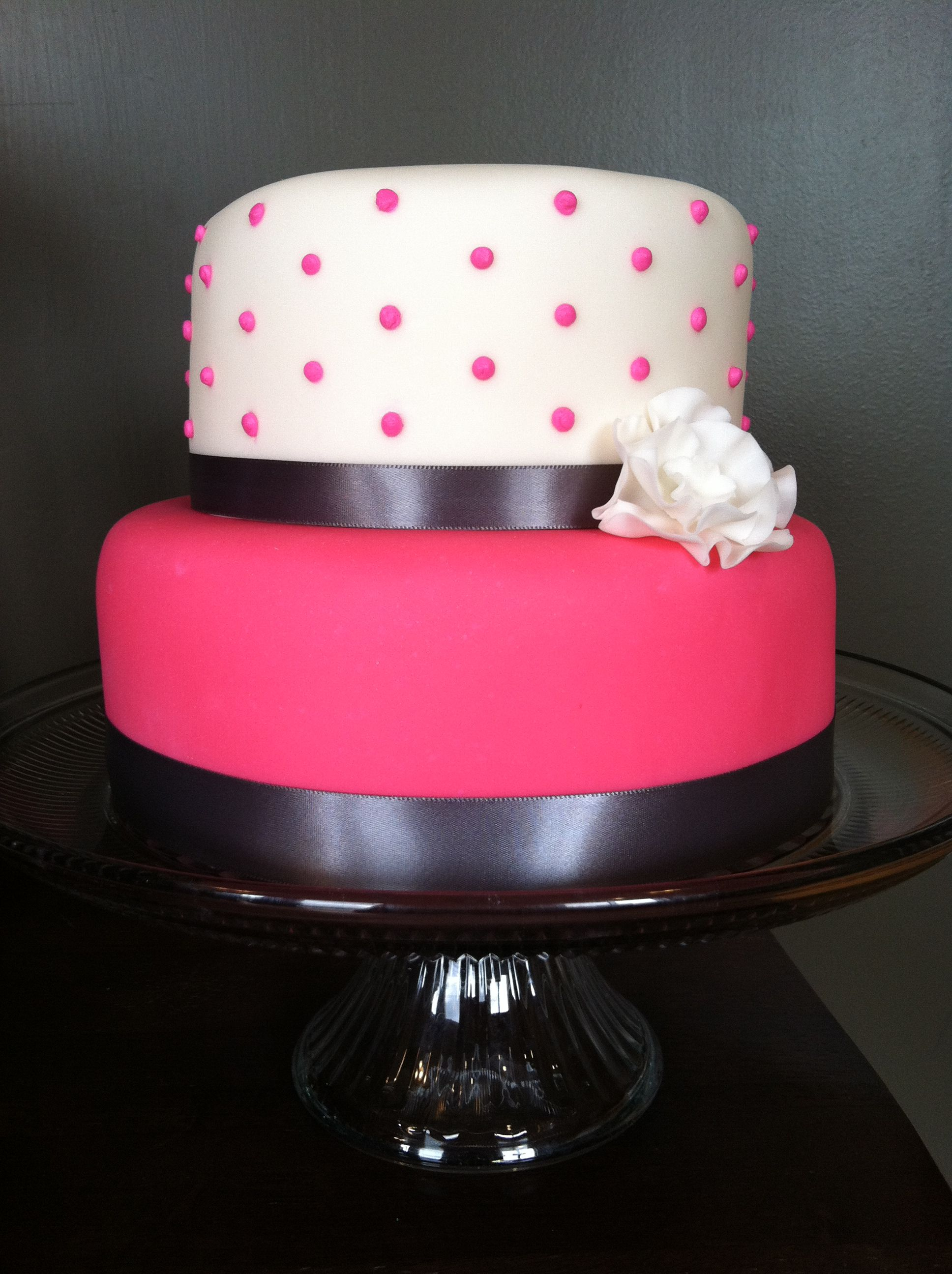 Pretty in Pink Dot Cake with Gray Ribbon