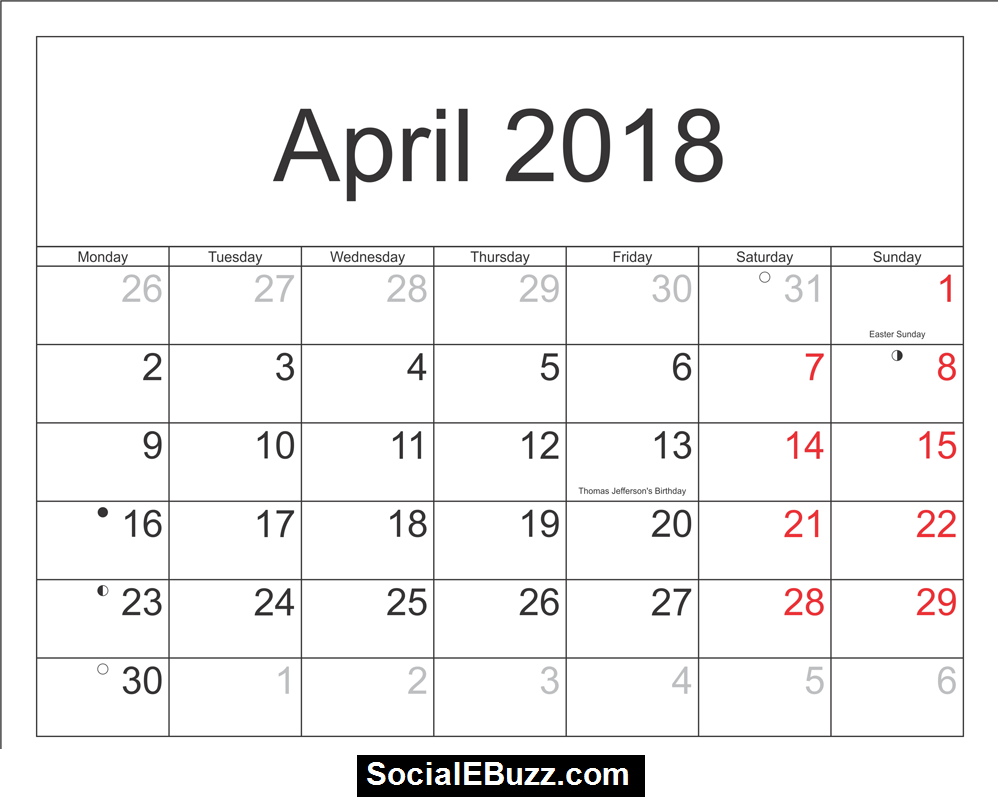 April Calendar Printable HttpSocialebuzzComApril