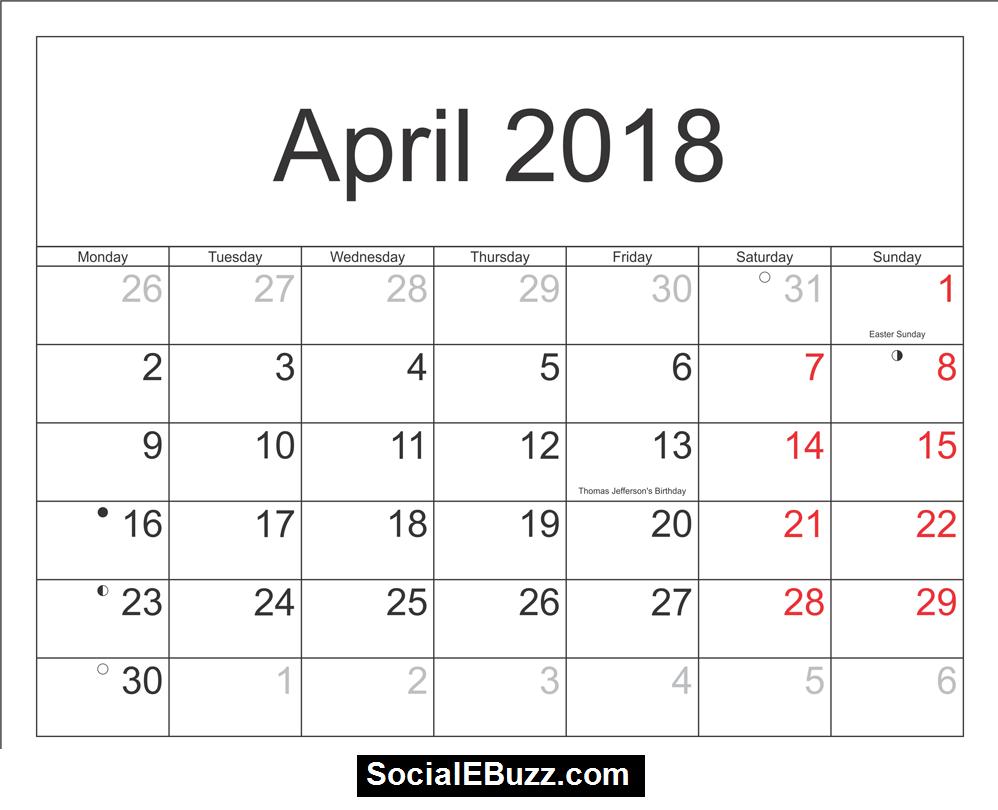 2018 printable calendar word