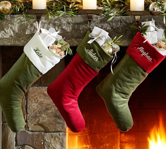 Christmas Stockings Pottery Barn.Personalized Basic Velvet Stockings Red With Ivory Cuff