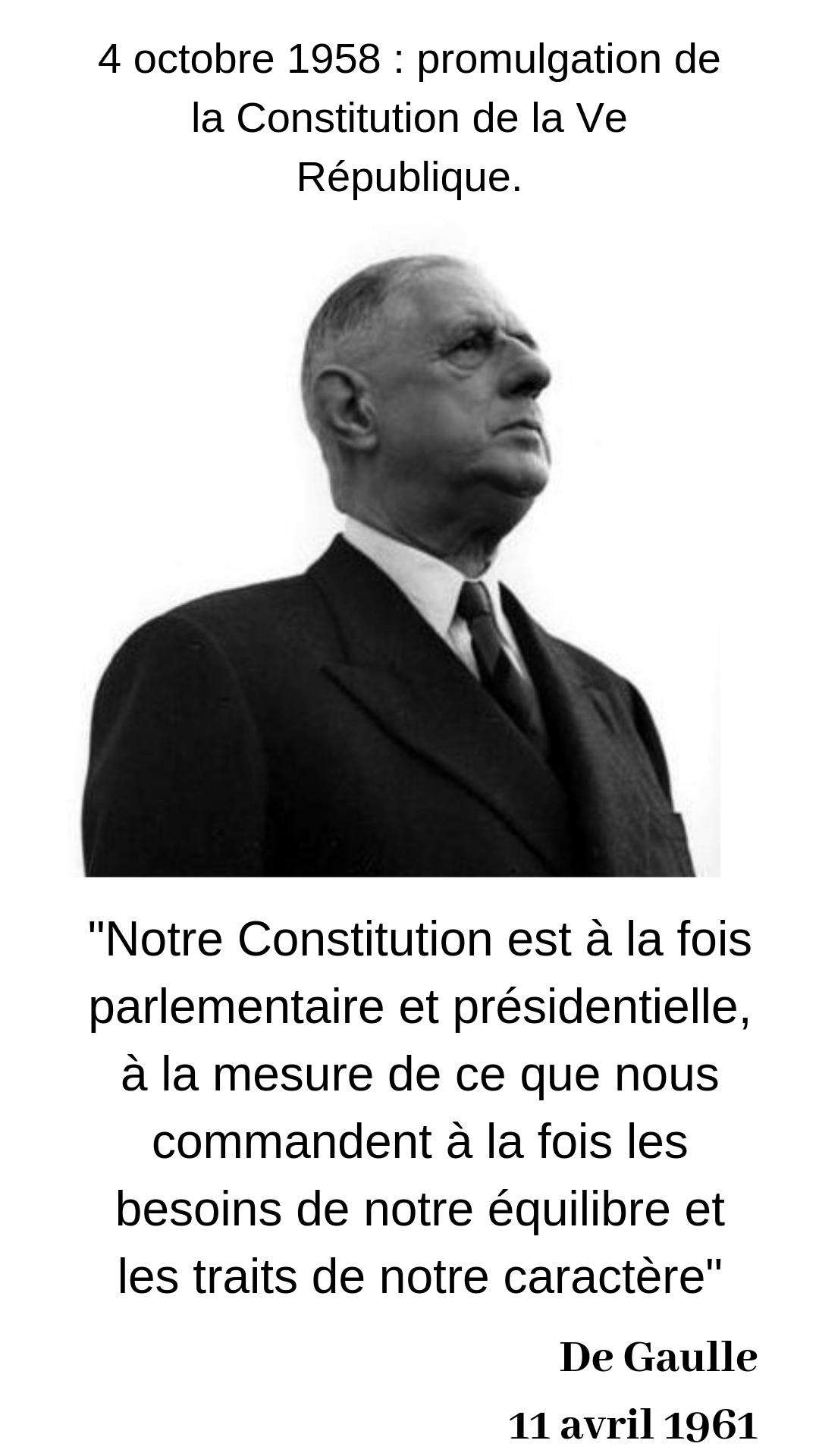 De Gaulle Notre Constitution Est A La Fois Parlementaire Et Presidentielle Citation Politique Histoire Des Etats Unis Gaulle