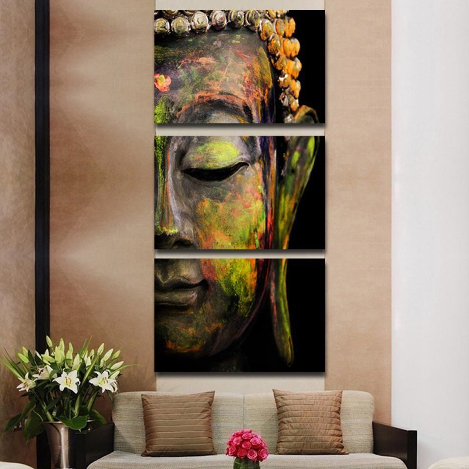 tableau bouddha ensemble 3 pi ces d coration int rieure pinterest bouddha peinture et. Black Bedroom Furniture Sets. Home Design Ideas