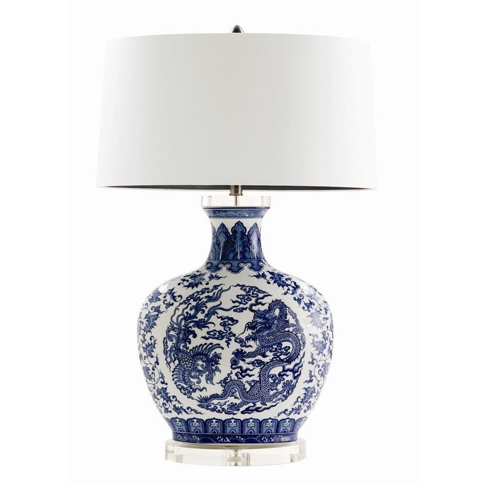 fancy design dragon lamps. Blue and white pattern chinoiserie lamp with a modern oval shaped base by lighting  designer Arteriors Dragon White Chinoiserie Lamp porcelain Porcelain