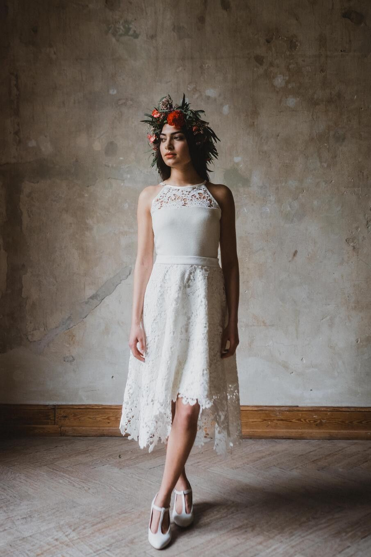 """Brautkleider - Brautkleid wadenlang """"Edelweiß"""" grobe Spitze - ein"""