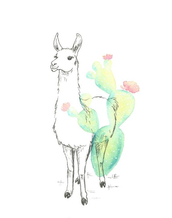 Llama print - Llama nursery decor - cactus watercolor