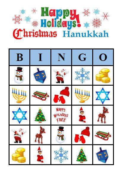 Christmas Hanukkah Bingo 30 Printable Happy Holidays Party Bingo