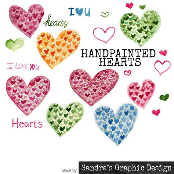 "Clip art: ""LITTLE HEARTS""  hand painted in various colors, 23 clipart 300 dpi PNG  files (809)"