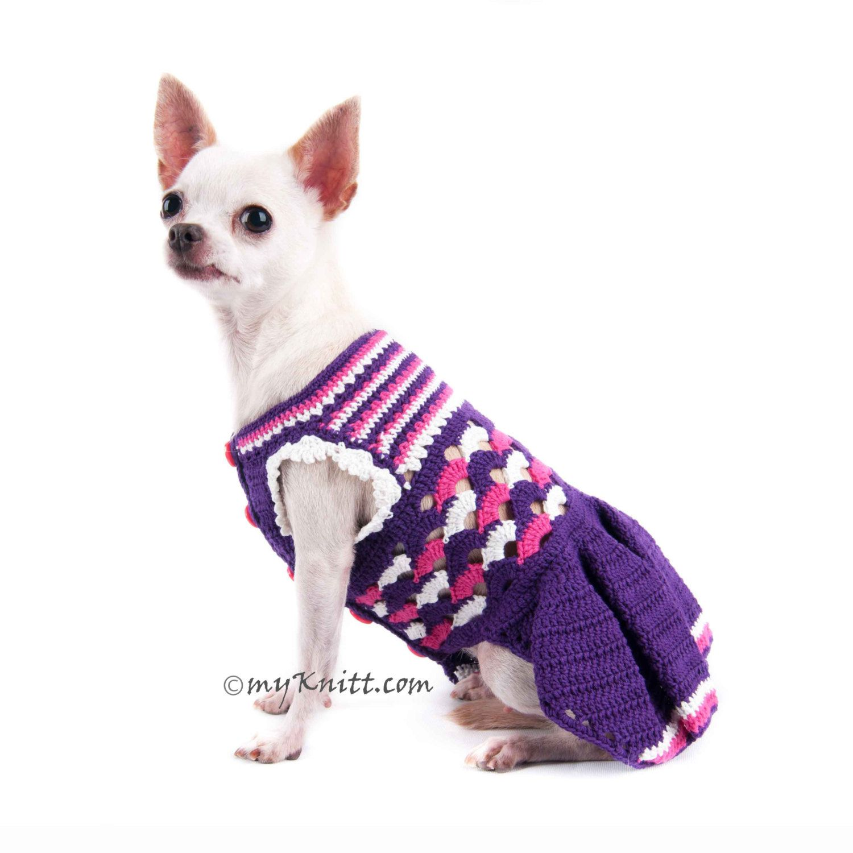 Purple Pink Dog Dress Ruffle Crochet Fashion Chihuahua by myknitt ...