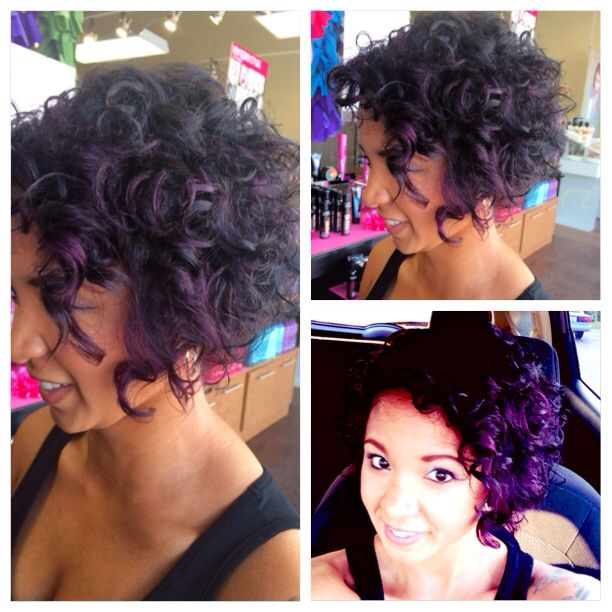 A New Short Do To Kick Off Spring Curly Short Hair With Purple Red