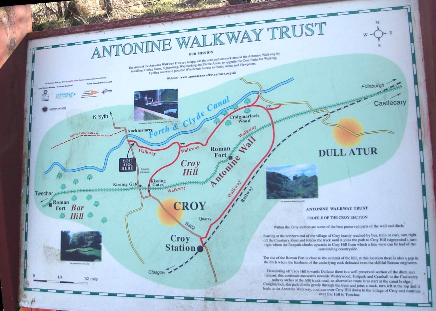 Antonine Wall Mapof The Antonine Wall At Croy Hill