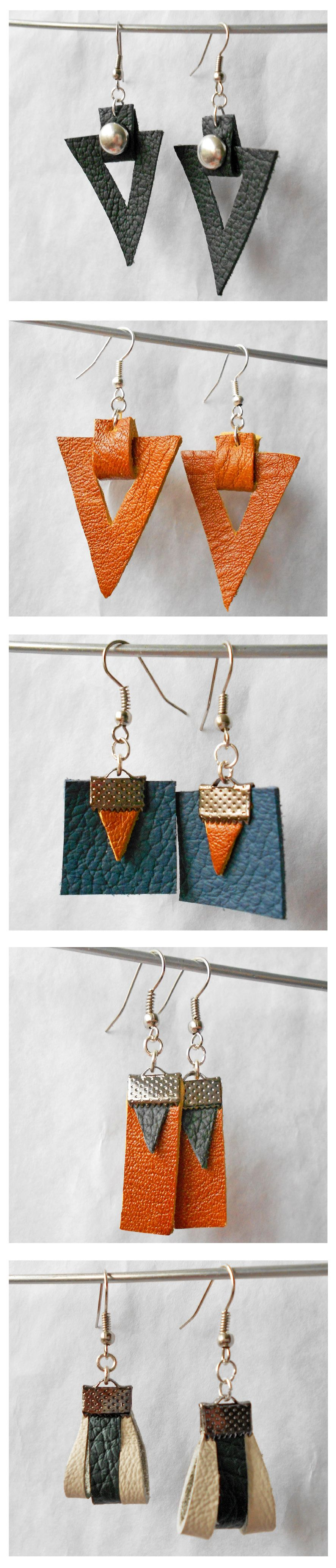 ROCK GEOMETRY COLLECTION_Leather earrings - by fralliDEA
