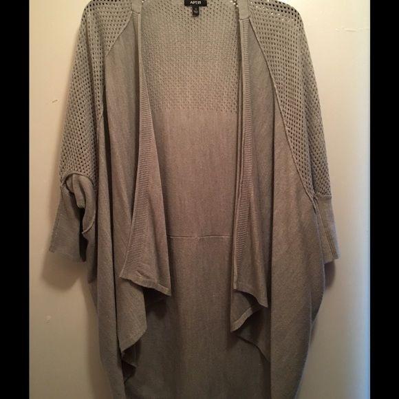 Gray flyaway cardigan 100% acrylic flyaway cardigan, longer in back, dolman sleeves, very cute! Only worn once! Apt. 9 Sweaters Cardigans