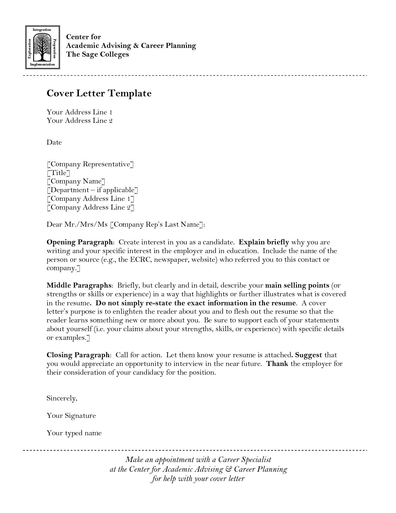 Cover Letter Template University Cover Letter Template Cover