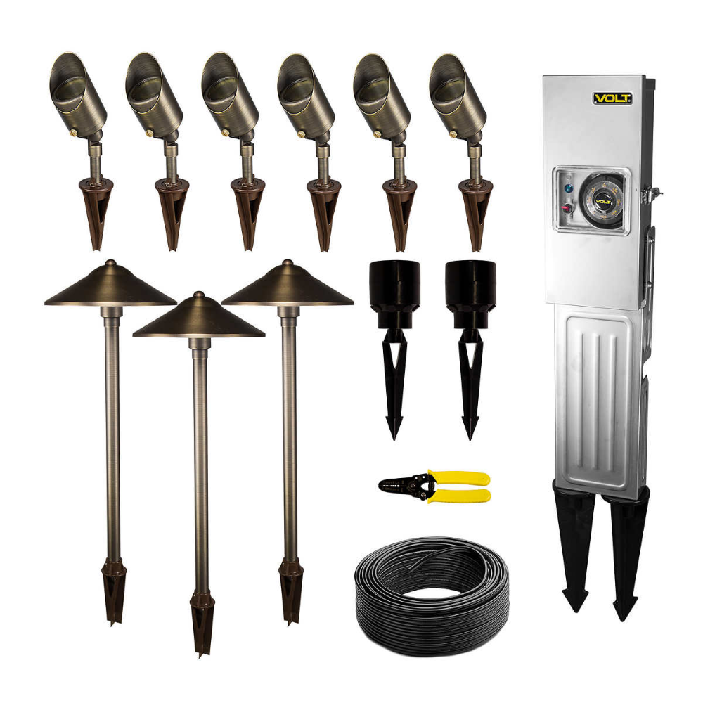 Volt Landscape Lighting 9 Piece Path Area Light Brass Led Starter Kit In 2020 Landscape Lighting Kits Landscape Lighting Design Landscape Lighting