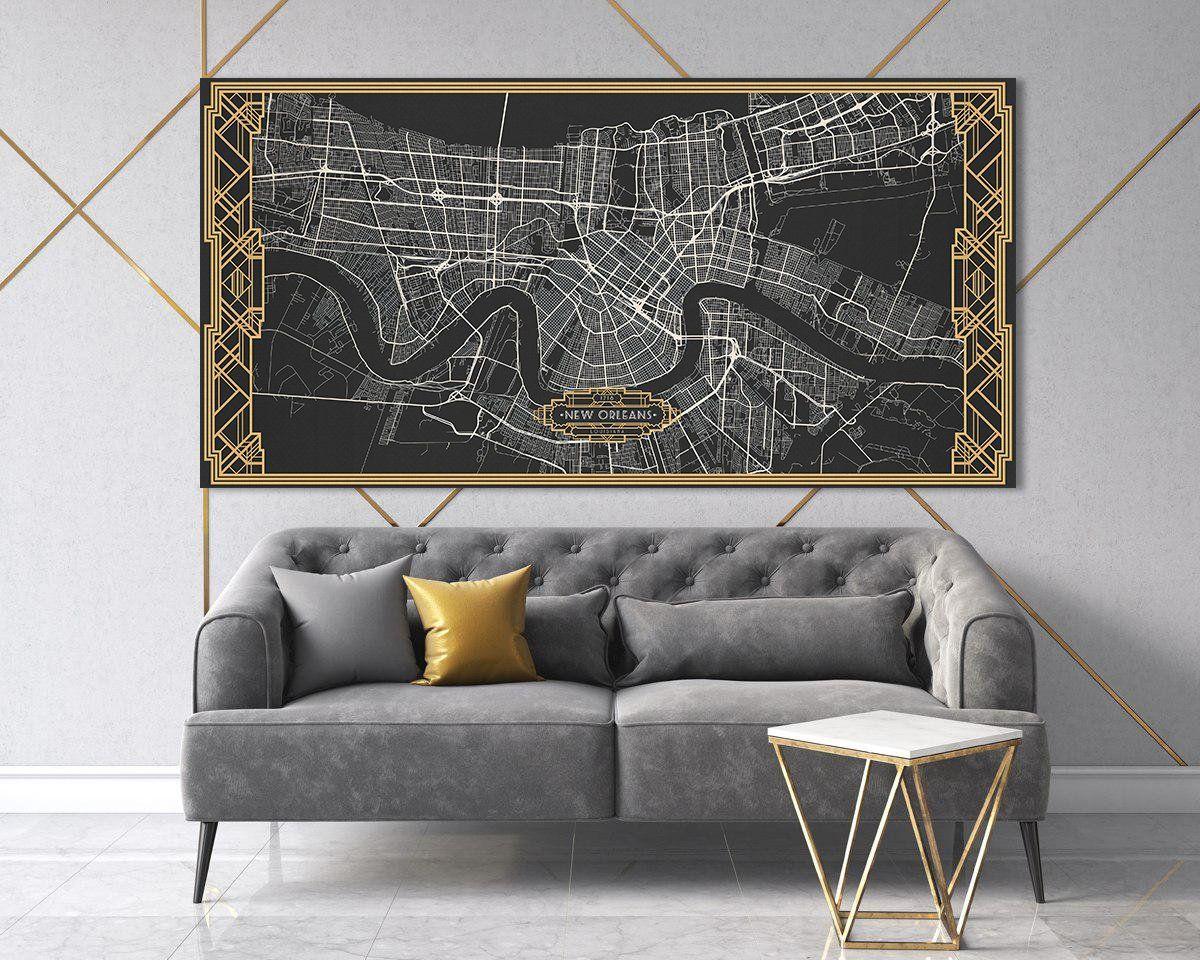 New Orleans Louisiana Canvas Map Black White Art Deco Large Etsy