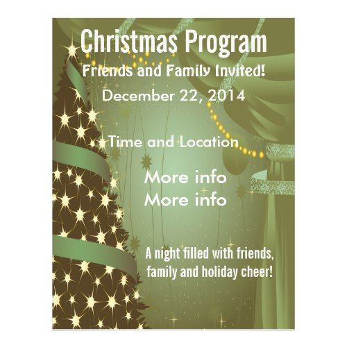 Christmas Flyers Templates Free  Christmas Tree Green Flyer Free