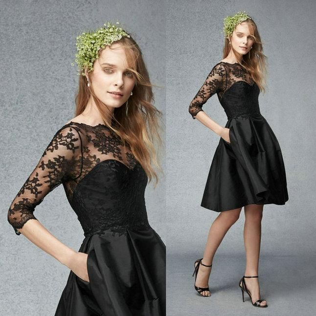 Vintage Little Black Dresses Sheer Lace Crew Neck Half Long Sleeve Short Taffeta A-Line Pockets Bridesmaid Bridal Party Maid of Honor Gowns Online with $66.34/Piece on Sarahbridal's Store | DHgate.com