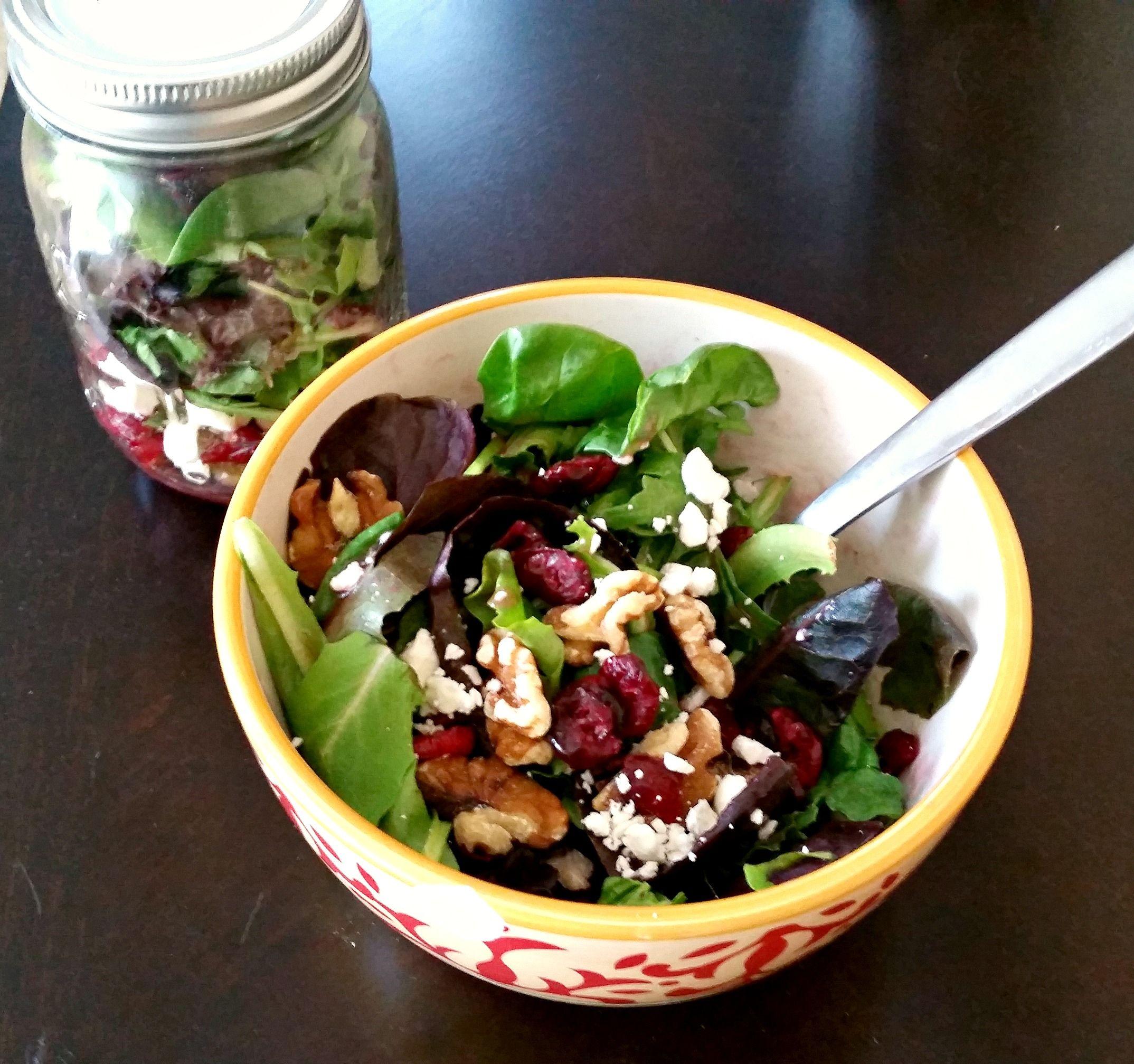 Salad in a Jar! Cranberry, Feta & Walnut Salad with Raspberry Vinaigrette