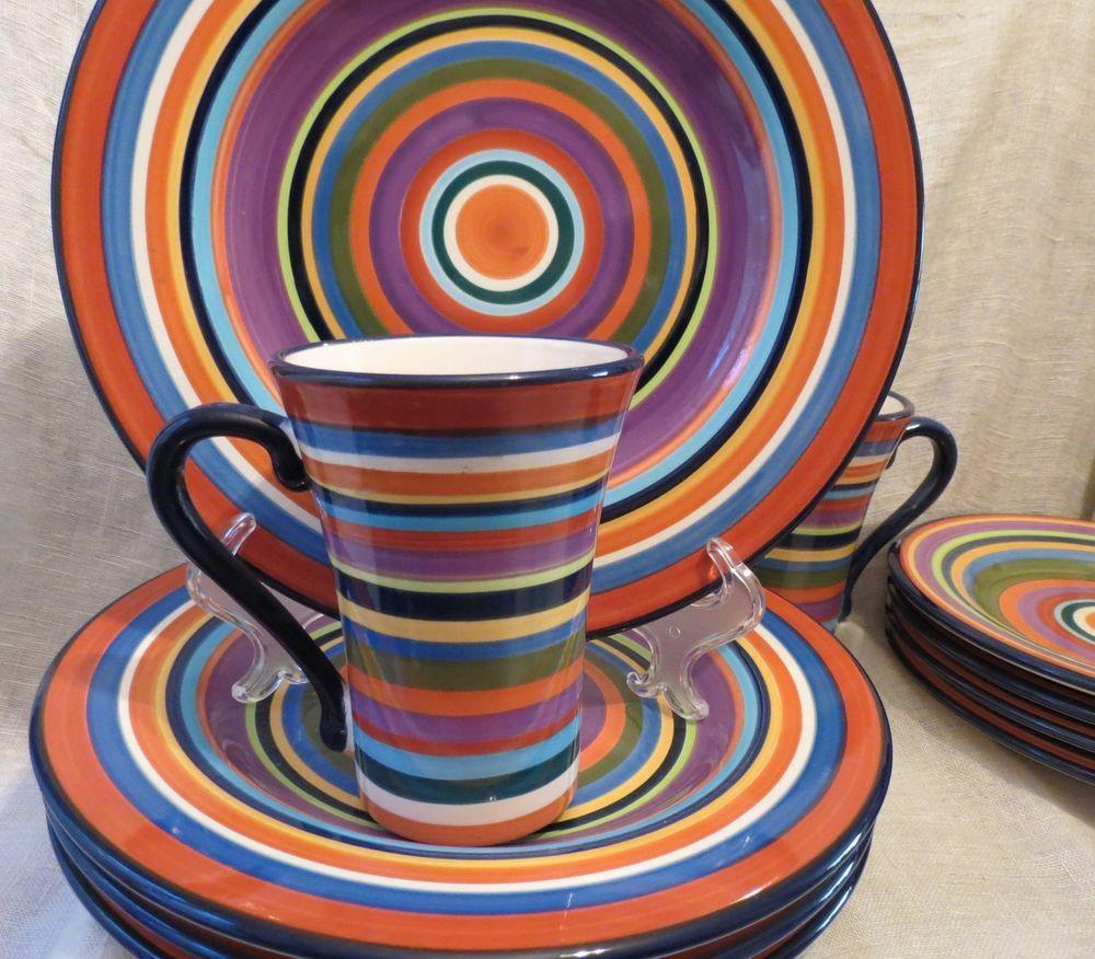 10 Pc. Living Art Casablanca Set Modern Stripes Hand Painted #LivingArt & 10 Pc. Living Art Casablanca Set Modern Stripes Hand Painted ...