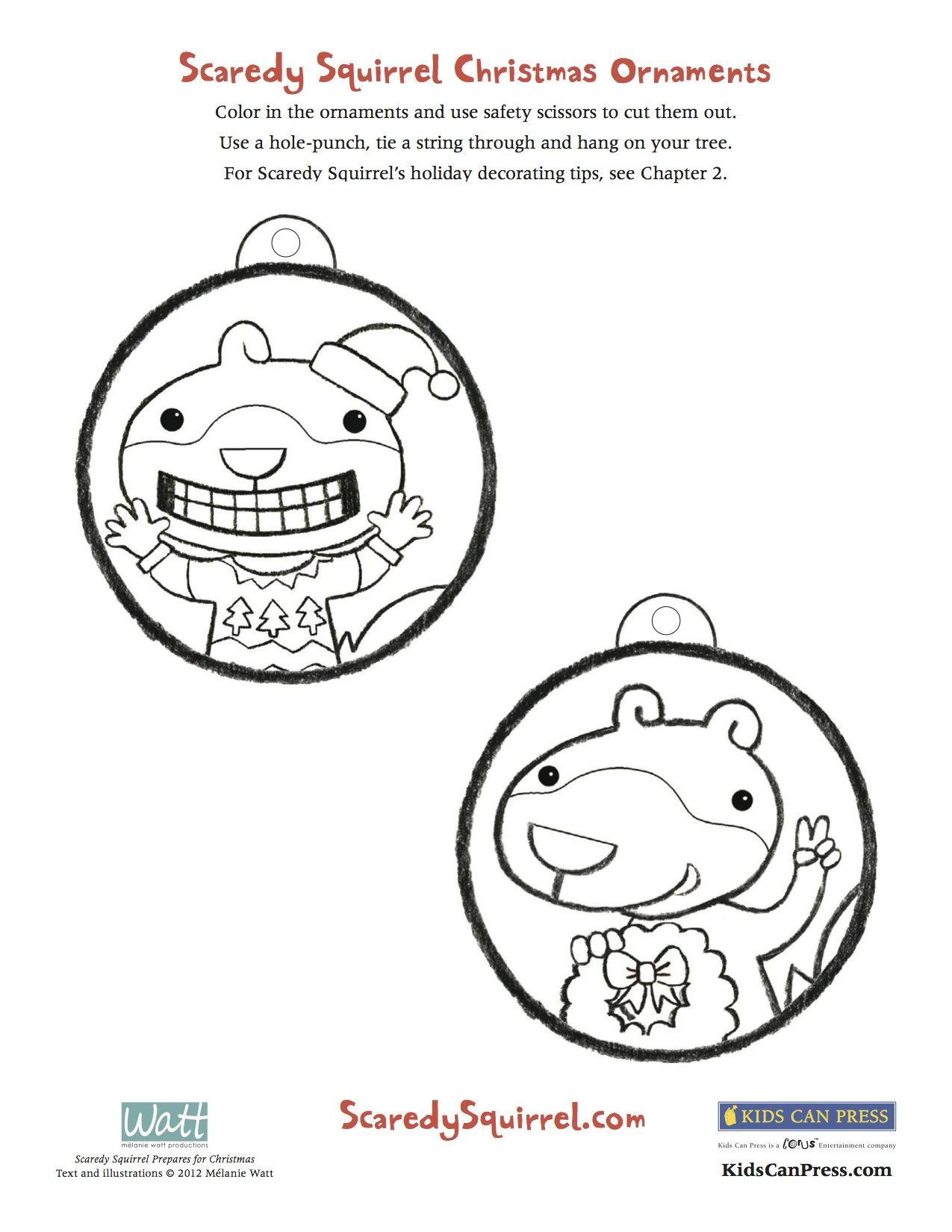 Make Your Very Own Scaredy Squirrel Christmas Ornaments