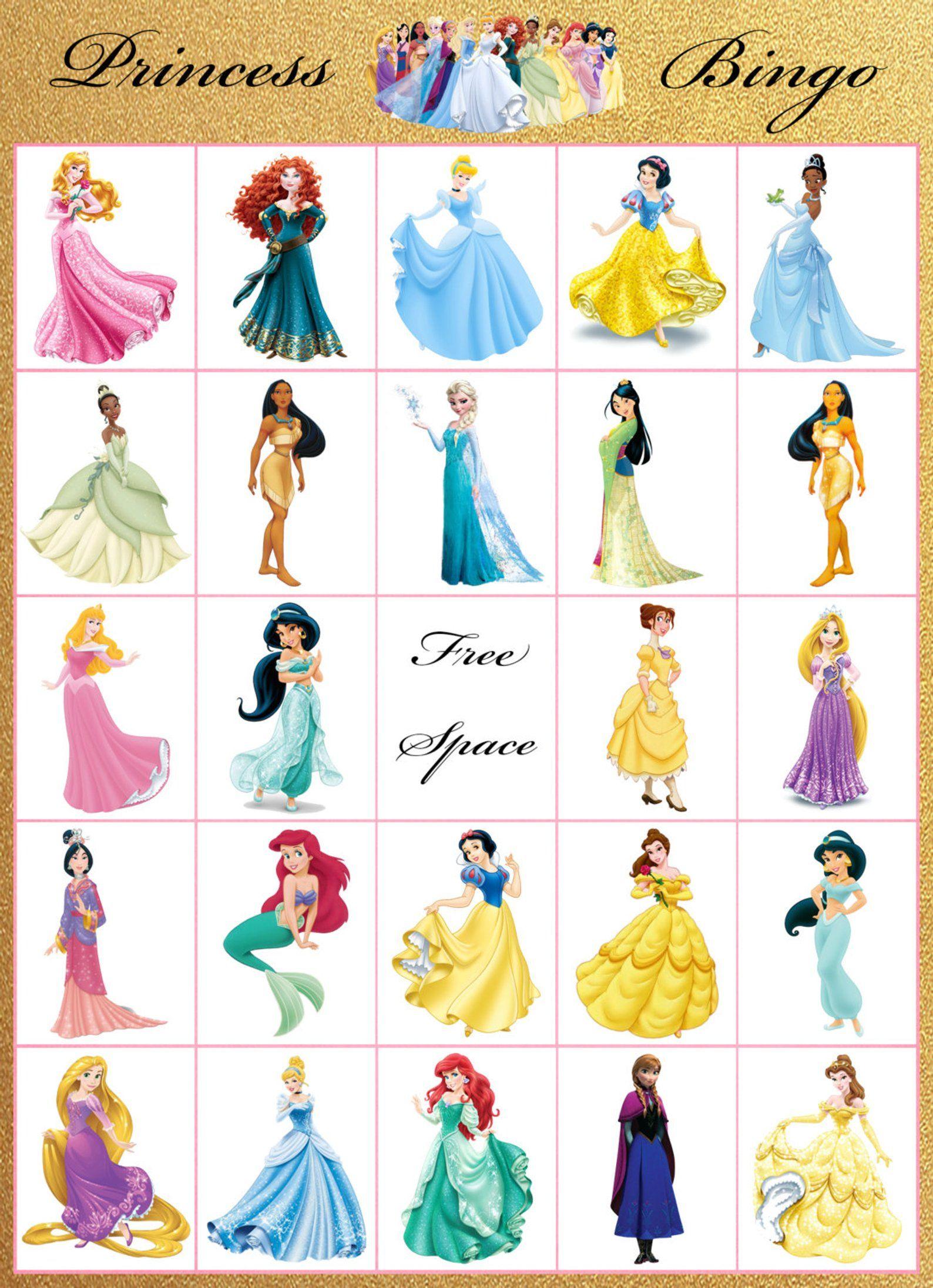 Princess Bingo 12 Card Princess Bingo Disney Princess Tea Party