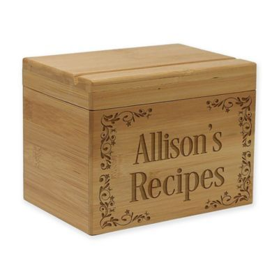 Scroll Pattern Bamboo Recipe Box Bamboo Recipe Recipe Box