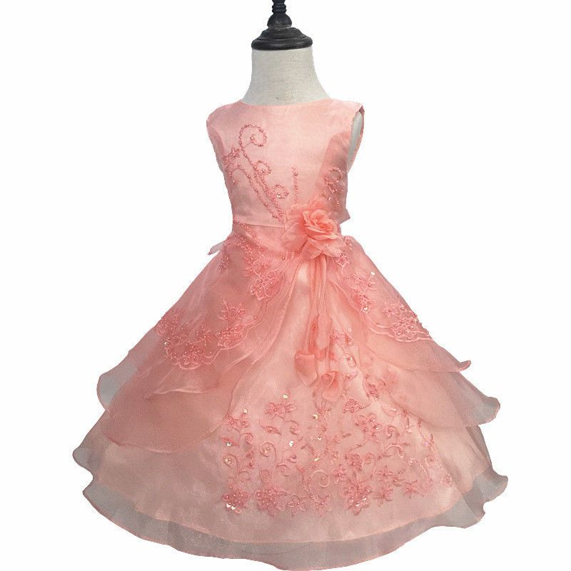 Girls Kids Flower Wedding Formal Bridesmaid Party Ball Gown Prom ...