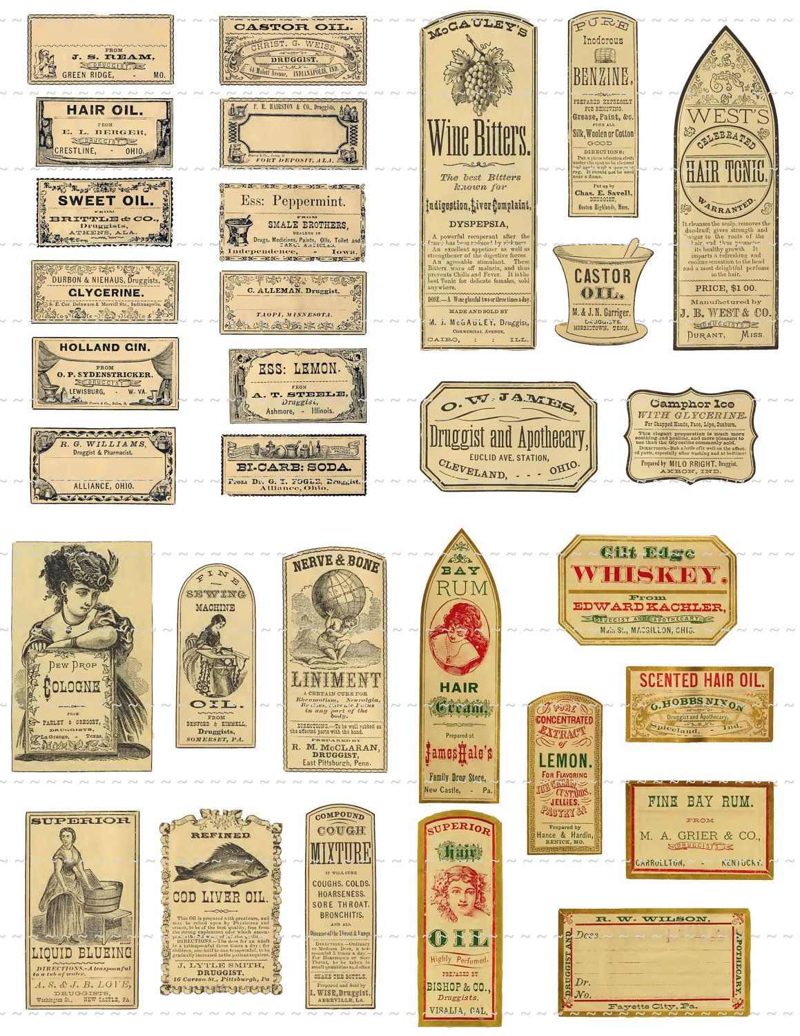 instant digital download collage sheet antique 1800's vintage