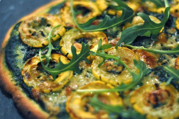 Nettle Pesto Pizza with Delicata Squash & Bacon