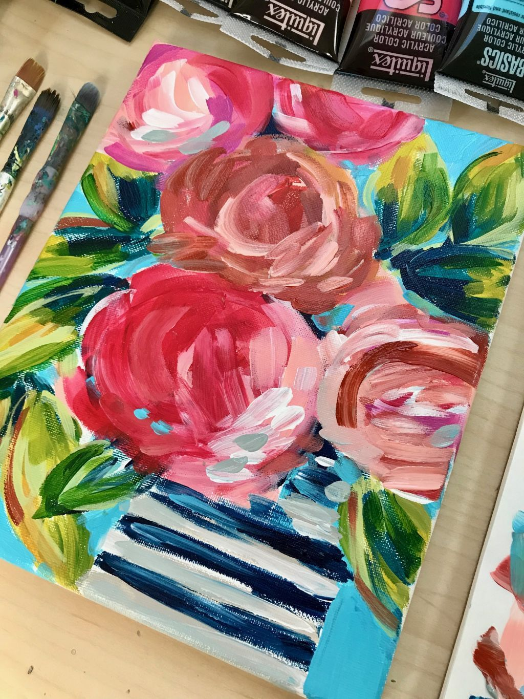 Loose And Abstract Flowers On Canvas With Acrylic Paint Tutorial