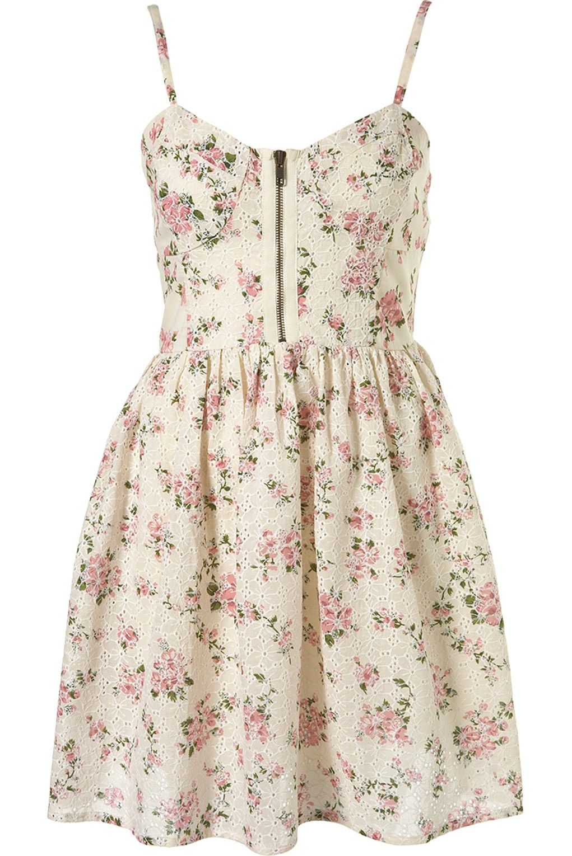 Topshop Vintage Floral Broderie Print Corset Sun Skater Dress - UK12 ...