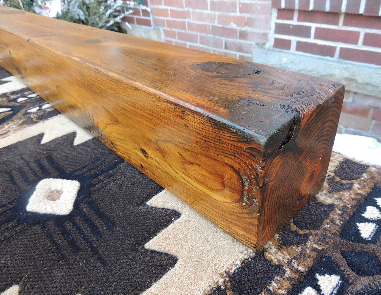 Outdoor Fireplace Mantel 64 X 6 X 6 Reclaimed Wood Fireplace