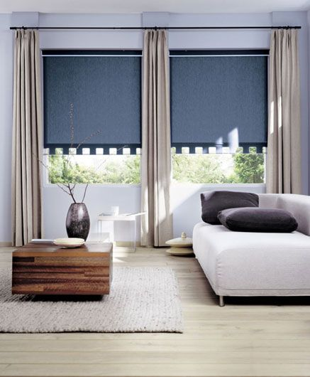 Blackout Roller Blinds Trimmed With A Pole To Match The
