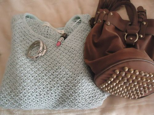 Sweater, bracelet and bag