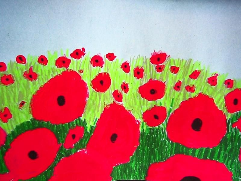 Poppy art lesson for kids remembrance day veterans day for Veterans day poppy craft