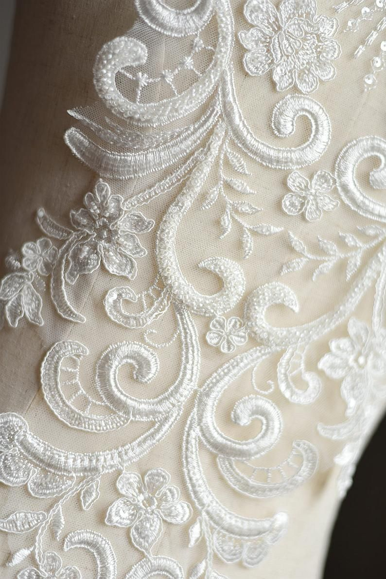 Large Heavy Beaded Bridal Applique Ivory Venice Lace Etsy In 2020 Wedding Applique Bridal Applique Lace Applique