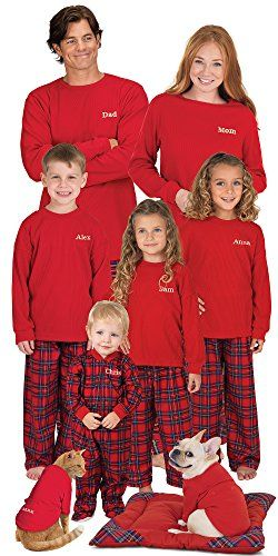 Red Cotton Flannel Stewart Plaid Matching Pajamas for the Whole