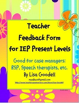 To My Childs Iep Case Manager >> Resource Teacher Editable Input Forms For Slps Special Ed Sdc