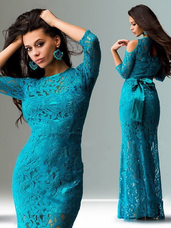 Long lace dress for many events, can be a bridesmaid dress for an alternative wedding, dress for prom, dinner parties and any festive event.